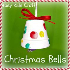 Gifts For Kids Christmas Bells easy kids craft… Made from painted clay pot, but … Christmas Bells, Simple Christmas, Christmas Holidays, Christmas Clay, Beautiful Christmas, Christmas Ideas, Christmas Cards, Christmas Lights, Christmas Music