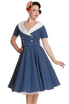 Hell Bunny 50s Claudia Polka Dot Dress Navy