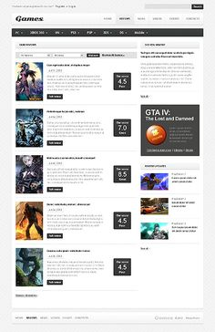 Games Portal Website Templates by Mercury