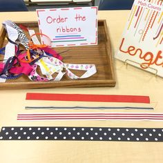 I can order the ribbons by length! #seriation #basicmath #iteachk #handsonlearning #teachersfollowteachers