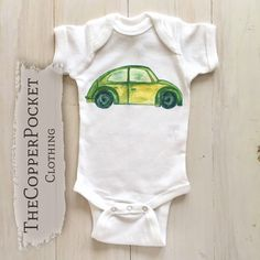 Cute funny unique baby clothes clothing for babies Car baby bodysuit Basic cotton onesie VW beetle bug automotive automobile boy girl neutral newborn clothes clothing outfit drawn travel