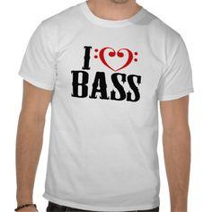 I Love Bass, with bass clef Heart Music t-shirt