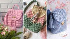 Стильные вязаные рюкзаки – БУДЬ В ТЕМЕ Crochet Backpack, Crochet Designs, Louis Vuitton Damier, Straw Bag, Baby Shoes, Crochet Hats, Backpacks, Pattern, Handmade