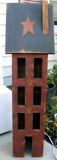 Primitive+Americana+Salt+Box++Wood+House+by+tinkerscottage+on+Etsy,+$55.00