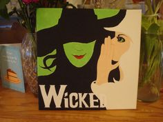 Items similar to Wicked (Musical) Canvas inches on Etsy Unique Paintings, Canvas Paintings, The Witches Of Oz, Wicked Musical, Craft Station, 10th Birthday Parties, Arts And Crafts, Diy Crafts, Over The Rainbow