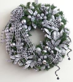Check out this item in my Etsy shop https://www.etsy.com/listing/252439305/christmas-wreath-artificial-fir-silver