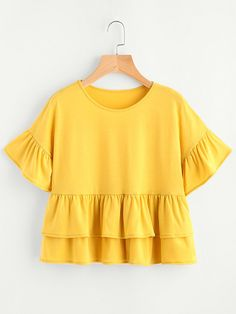 Sheinside Layered Babydoll Tee T-shirts Yellow Frill Hem Cute Ladies Summer Tops 2017 Fashion Ruffle Sleeve Casual T-shirt Fall Outfits, Summer Outfits, Casual Outfits, Cute Outfits, Hijab Fashion, Girl Fashion, Fashion Outfits, Blouse Styles, Blouse Designs