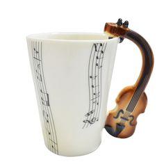 Giftgarden Ceramic Coffee Mug Cup with Music Violin Handle