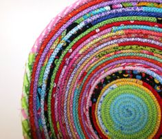 e032d304eea44d Coiled Fabric Basket Bright Multicolored Scraps by AbbysSewAwesome, $25.00  Rope Basket, Basket Weaving,