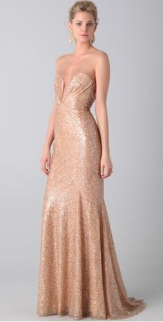 Reem Acra dress - stunning in rose gold.