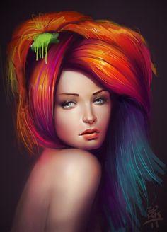 Rainbow Hair by Nestor David Marinero Cervano, via Behance