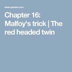 Chapter 16: Malfoy's trick | The red headed twin