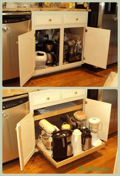 Stile removal + Glide-Out shelves = appliance nirvana!  #shelves  #PullOutShelves  #organization  #cabinets  #shelfgenie