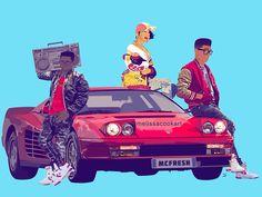 MCFRESH | 80s throwback #mcfresh #hiphop #oldschool #music #ferrari #testarossa #car #teens #boombox #saltnpepa #melissacookart #sneakerhead #bape #kaws #vector #art #digital #illustration #photoshop #cazal #print #90s #nyc