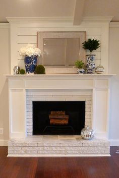 5 Attractive Tips: Faux Fireplace Makeover double sided fireplace lounge.Tv Over Fireplace Basements fireplace classic window seats.Fireplace And Tv White Mantel. Living Room Decor Fireplace, Fireplace Update, Brick Fireplace Makeover, Shiplap Fireplace, Farmhouse Fireplace, Fireplace Design, My Living Room, Fireplace Ideas, Simple Fireplace