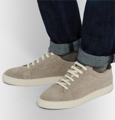 Brunello Cucinelli — Leather-Trimmed Suede Sneakers