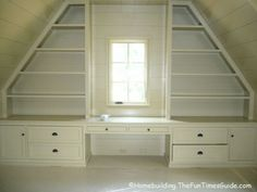 Built in shelving for the room above the garage. Brilliant!
