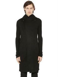 knitwear - hooded cashmere long cardigan
