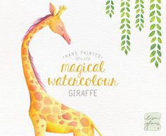 This very special watercolor Giraffe was hand painted with love. Add a whimsical touch to a birth announcement, childrens birthday invitation, or just a lovely nursery art print! Youll also receive a lovely a pre-made invitation background in both PSD and PNG format ready for you to