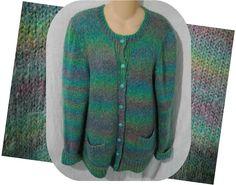 Womens VINTAGE Handmade Hand Knitted Cardigan Sweater Rainbow M - L
