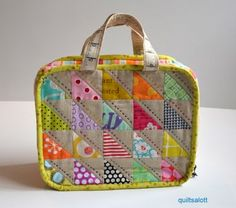 What a cool little patchwork bag! old school lunch case - line it with vinyl or some waterproofish material