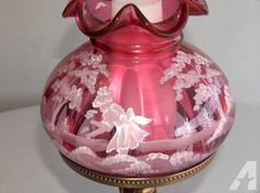 Fenton art glass lamp - $100