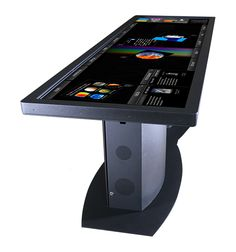 Similar to Micorosft's old Surface table, Ideum has launched the Pano Touch Table which is a table with a 100 inch touch screen on it that consists of two 55 inch active LED HD TVs with touch p. Technology World, Futuristic Technology, Cool Technology, Technology Gadgets, Technology Design, Medical Technology, Energy Technology, Latest Technology, High Tech Gadgets