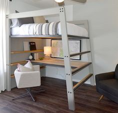 This loft bed is designed to be both durable and functional while showing clean modern lines. The bed pictured is a full size bed made out of