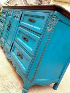 Turquoise Buffet! Going to do this with our dresser turned buffet ♥