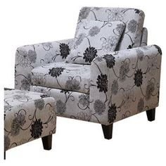 Microfiber-upholstered arm chair with a floral motif.Product: ChairConstruction Material: Wood and microfiberColor: Black and white    Dimensions: 32 H x 32 W x 32 D    Cleaning and Care: Keep furniture out of direct sunlight to avoid sun and light damage and color bleaching.  Clean wood with a soft, dry cloth to remove dust.