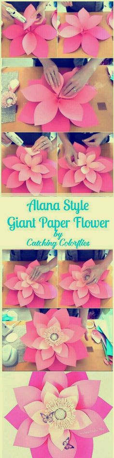 Alana Style Giant Flower Templates DIY this 21 inches ombre pink giant paper flower. Full template patterns and tutorials. Giant Paper Flowers, Diy Flowers, Flower Paper, Flower Diy, Wedding Flowers, Tissue Flowers, Handmade Flowers, Fabric Flowers, Flower Pots