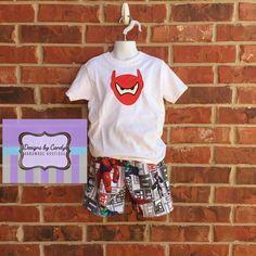 Baymax shirt and shorts. boys Big Hero Six by DesignsbyCandy2015