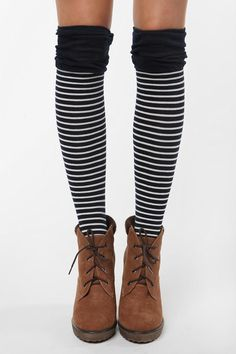 knee socks and tie up boots