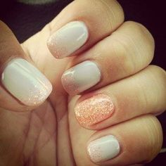Gorgeous peachy glitter and white nails- I would totally try this nail design! <3!