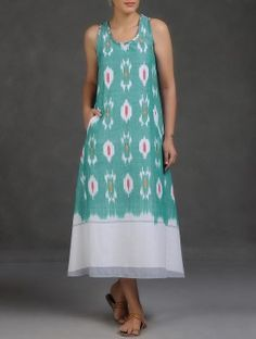 Sea Green-White Racer Back Ikat Cotton Dress