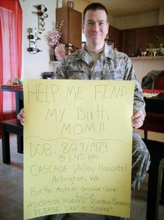 Help this soldier find his birth mother, I am putting this on this board because it's most popular. c: >>> help this man find his birth mom people Touching Stories, Sad Stories, Birth Mother, Gives Me Hope, Faith In Humanity Restored, I Care, Helping Others, Good People, In This World
