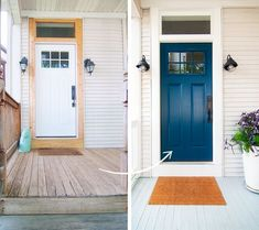 A little paint can go a long way when it comes to curb appeal! Look at the striking difference a fresh coat of paint made in Kim's front door! via Yellow Brick Home