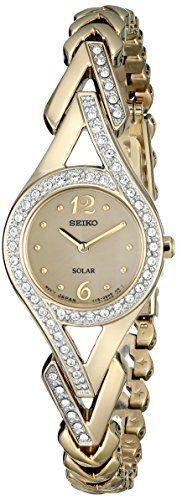 Seiko Women's SUP176 Swarovski Crystal-Accented Stainless Steel Solar Watch - http://dressfitme.com/seiko-womens-sup176-swarovski-crystal-accented-stainless-steel-solar-watch/