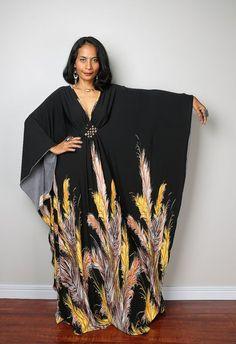 Black Kaftan Dress  Kimono Butterfly Dress: Funky by Nuichan