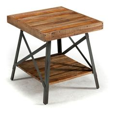 Emerald Home Chandler End Table - Reclaimed wood and industrial metal make up the Emerald Home Chandler End Table . This beautiful, multicolored table provides ample space and storage...