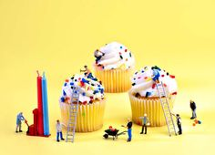 Cupcake Construction, picture from the series Little Perspectives by Cathy Scola, LUMAS Artist ✓ Miniature Photography, Photography For Sale, Toys Photography, Fine Art Photography, Cupcake Photography, Yellow Submarine, Funny Food Memes, Miniature Calendar, Construction Birthday Parties