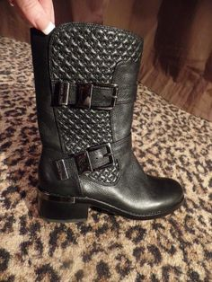 BLK031 Vince Camuto Welton Quilted Moto Mid Calf Boot Black Leather NEW Womens 7 #VinceCamuto #MidCalfBoots