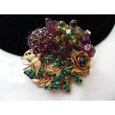 Miriam Haskell Glass Bead Brooch Bird Flower Purple Green Gold Plate... ($355) ❤ liked on Polyvore featuring jewelry, brooches, vintage flower brooch, vintage pins brooches, vintage jewelry, green jewelry and flower brooch