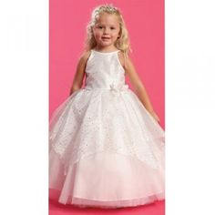 Angels Garment Little Girls White Sparkle Overlay Pageant Dress 2T-6