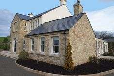 Donegal & Omagh Sandstone with Sandstone Window & Door Surrounds - Coolestone Stone Importers Suppliers Masonry Tyrone Northern Ireland 2 Storey House Design, Two Storey House, Stone Exterior Houses, Bungalow Exterior, House Exteriors, House Designs Ireland, Self Build Houses, Stone Cottages, Ireland Homes