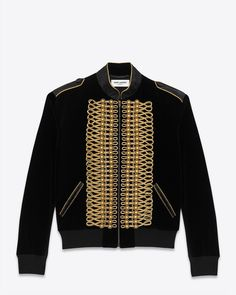 Saint Laurent Officer Baseball Jacket With Salmon Skin Trimmed Stand-Up Collar And Epaulets And Gold Miltary Cording Along Packet.