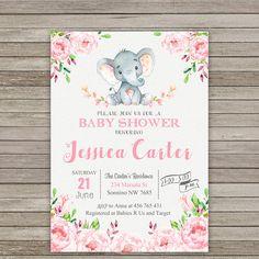 Elephant Baby Shower Invitation Safari Baby Shower Invitation
