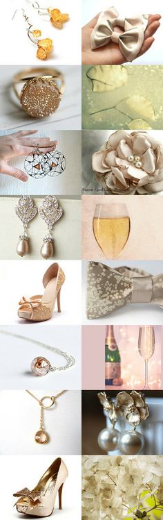 Champagne colored wedding  by Samantha Miller on Etsy--Pinned with TreasuryPin.com #wedding #champagne #heels #earrings #ring #forher #weddingdecor #necklace #photography #champagnebow