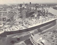 The IVERNIA of Cunard Line in the fitting out basin at the East Yard of her builders, John Brown and Co. of Clydebank, in 1955. Of special interest to me, as I joined this ship in 1959 a crew member at the age of 18.