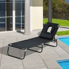 Outsunny Adjustable Chaise Lounge with Face Cavity Folding Outdoor Beach Camping Sun Lounger Garden Recliner (Black) Garden Recliners, Folding Sun Loungers, Beach Camping, Take A Nap, Beach Chairs, Outdoor Furniture, Outdoor Decor, Outdoor Living, Swimming Pools